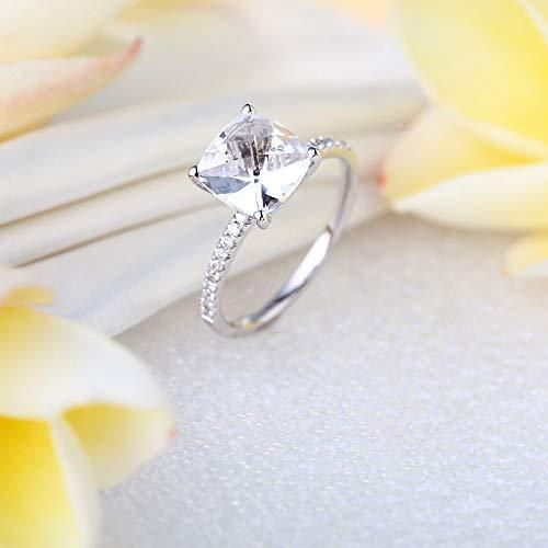 14K White Gold Wedding Engagement Ring 2.5 Ct Topaz 0.12 Ct Natural Diamond (0.12 Ct Natural)