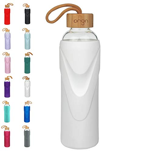 - ORIGIN - Best BPA-Free Glass Water Bottle with Protective Silicone Sleeve and Bamboo Lid - Dishwasher Safe - 22 Ounce (Bright White)