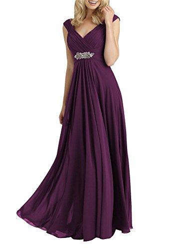 der HWAN Traube Frauen Chiffon Braut V Ausschnitt Mutter Kleid Lange A Linie Abendkleider RRwxq86r