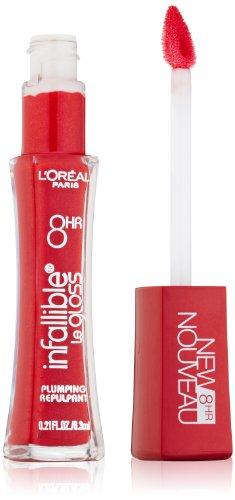 L'Oreal Paris Непогрешимый 8 ч Plumping Блеск для губ, красный, 0,21 унции