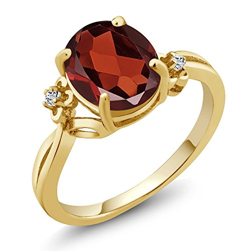 2.86 Ct Oval Red Garnet Topaz 14K Yellow Gold Women's Ring (Available 5,6,7,8,9)