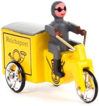 """Amarillo miniatura BxHxT oficina de correos del reino """"del triciclo del vehículo miniatura de la"""" madera de madera Kfz del coche de la artesanía de la montaña del mineral del arte popular de las monta"""