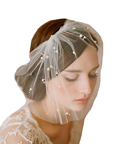 Odrobe Women's 1 Layer Birdcage Crystals Cut Edge Short Wedding Veil with Comb Bridal Headwear (Short Veil)