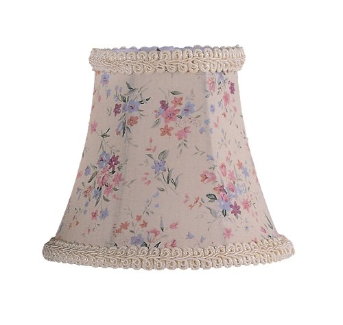 Livex Lighting S272 Bell Clip Chandelier Shade With Fancy Trim, 1'' x 1'' x 1'', Cream Floral Print