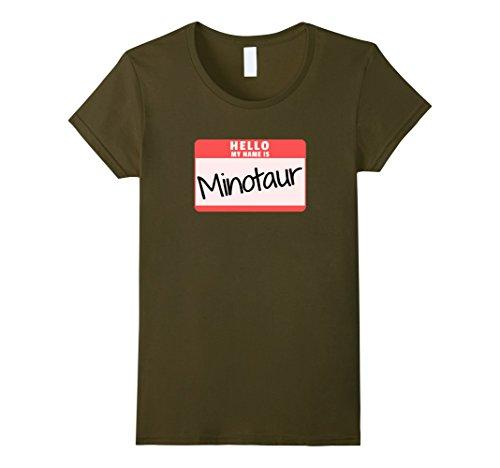 Womens Hello My Name is Minotaur Halloween Monster Costume T-Shirt Medium (Greek Mythology Halloween Costume Idea)