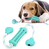 Classic Dog Chew Toys, Puppy Teething Toys with Free-Play and Training Cotton Rope Safety Rubber Pet Toothbrush (Small(0-20lb))