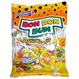 Colombina Bon Bon Bum Lollipops Passion Fruit 24 Lollipops per Bag 2 Pack