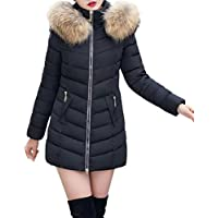 Women Puffer Outwear, Forthery Womens Puffer Jacket with Plush Lined Fur Trim Hood Down Coats (Black, Tag M= US S)