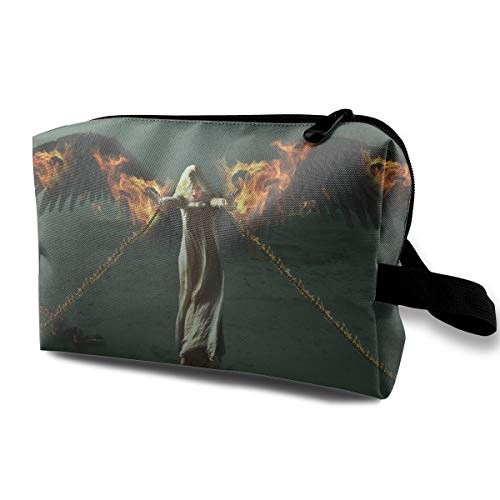 Fantasy Halloween Fallen Angel Girl Bounded By Chains Multi-function Travel Makeup Toiletry Coin Bag Case