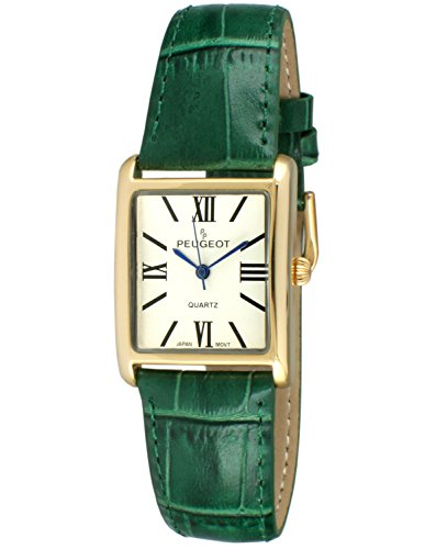 Peugeot Women's 14K Gold Plated Tank Leather Dress Watch with Roman Numerals Dial, -
