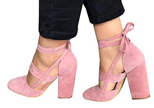 Dellytop Women Closed Toe Ankle Strap Velvet High Heel Platform Pump Sandal Shoes Pink cLRSqMrBja