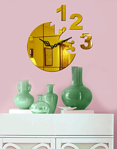 Sehaz Artworks 'Moon Num' Decal Asymmetric Acrylic Wall Clock (27 cm x 27 cm x 4 cm, Gold)
