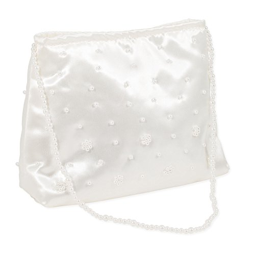 Beaded First Communion Satin Girls White Ivory Purse with Strap