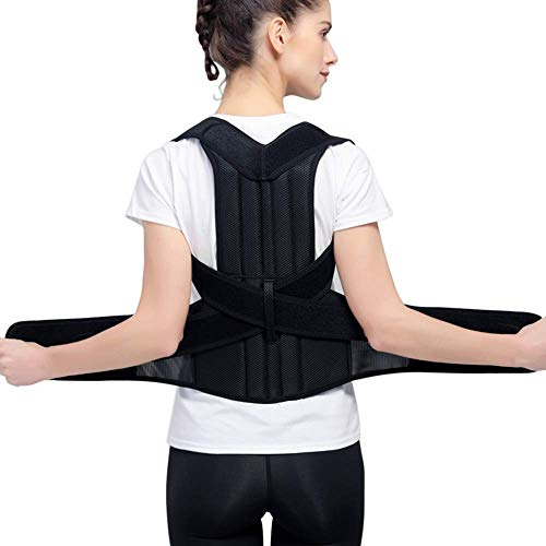 Back Posture Correction, HailiCare Full Back Brace Shoulder Posture Corrector for Upper Lower Back Support, Brace to Relieve Slouch, B Slouch, Back Pain, Thoracic Kyphosis - Medium Size(Waist 29