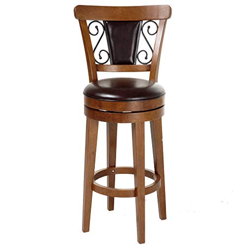 Leggett & Platt Trenton Swivel Seat Bar Stool with Nutmeg Finished Wood Frame, Ember Seatback Accents and Brown Faux Leather Upholstery, 30-Inch Seat Height
