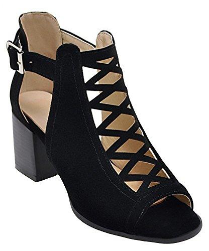 IDIFU Women's Sexy Cut Out Peep Toe Buckled Mid Block Heels Gladiator Sandals Wedding Shoes Black 10.5 B(M) US (Shoes Ladies Width Wide Dress)