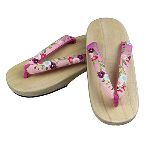 pink Color Japanese Shoes wood Sandals Clogs Floral sofei C Traditional Women's Wooden Ez Sole Geta OwnTZvqx