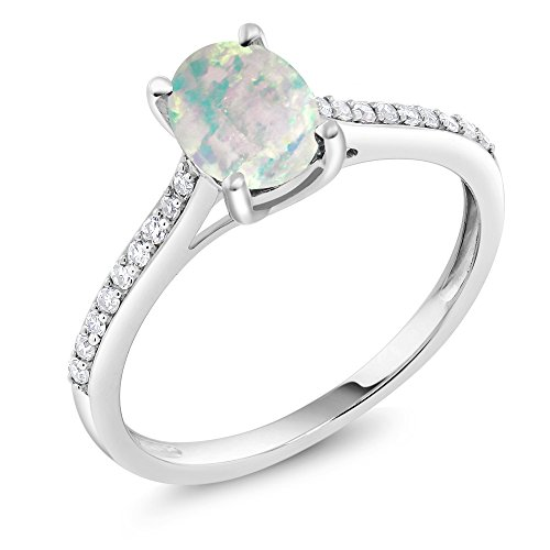 Diamond Engagement Solitaire Ring set with 8x6mm Oval Cabochon White Simulated Opal (Ring Size 5) (10k Gold Pave Set)