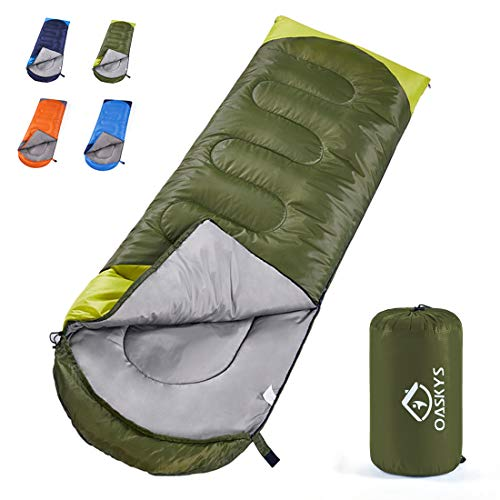oaskys Camping Sleeping Bag - All Season Warm & Cool Weather - Summer, Spring, Fall, Winter, Lightweight, Waterproof for Adults & Kids - Camping Gear Equipment, Traveling, and Outdoors