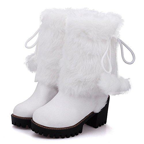 white Fourrure A Enfiler TAOFFEN Synthetique Femmes Bottes cwqxc781CZ