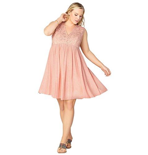 AVENUE Women's Crochet Bodice Babydoll Dress, 14/16 Blush