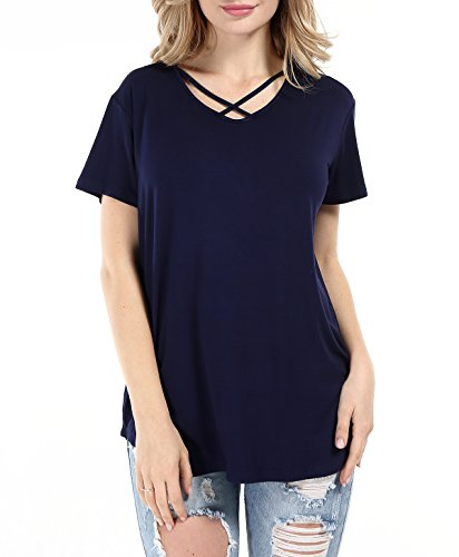 Women Solid Criss Cross Front V-Neck Casual Short Sleeve Plain Basic Girls Sexy T-Shirt Tops (Navy, - Cross Cotton