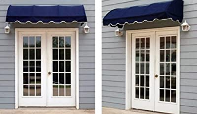 Quarter Round Window Awning or Door Canopy 8' Wide in Sunbrella Awning Fabric - Navy Blue