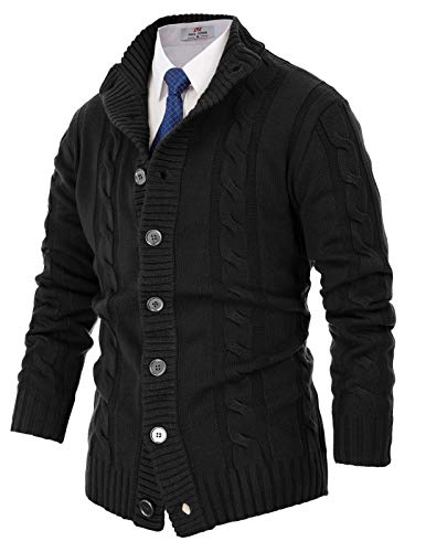 Mens Stylish Button Down Cardigan Sweater for Big and Tall(M,Black) ()