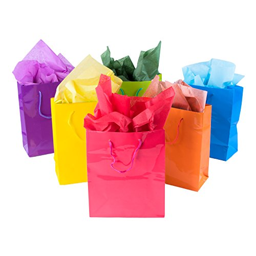 Neon Colored Blank Paper Party Gift Bags Rainbow Assortment with String Handles for Birthday Favors, Snacks, Decoration, Arts & Crafts, Event Supplies (12 Bags) by Super Z Outlet (Party Favor Bags For Kids)