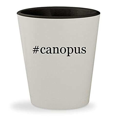 #canopus - Hashtag White Outer & Black Inner Ceramic 1.5oz Shot Glass (Canopus Hi Hat)