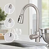 Kitchen Faucet, TECCPO Single Handle High Arc Brushed Nickel Stainless Steel Faucet with 3 Spray Modes Pulldown Sprayer, Kitchen Sink Faucet With Deck Plate
