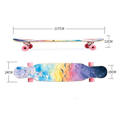 QYSZYG Junge Erwachsene Jungen Jungen Jungen und Mädchen des Skateboardanfängers bürsten Straße Vierradlandstraßenverdoppelungberufsroller Skateboard (Farbe   B) B07P8KRWQ2 Skateboards Große Klassifizierung da2107