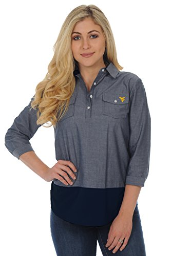 Ug Apparel Ncaa West Virginia Mountaineers Adult Women Plus Size Chambray Shirt  2X  Chambray Navy
