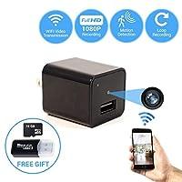 2018 Wall Charger Hidden Camera WiFi Video Transmission Loop Recording   Free App Android iOS   Free 16 GB Card SD Card Reader   Mini Camera Nanny Surveillance