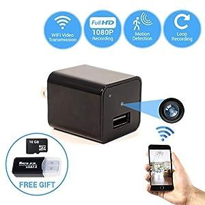 2018 Wall Charger Hidden Camera WiFi Video Transmission Loop Recording | Free App Android iOS | Free 16 GB Card SD Card Reader | Mini Camera Nanny Surveillance