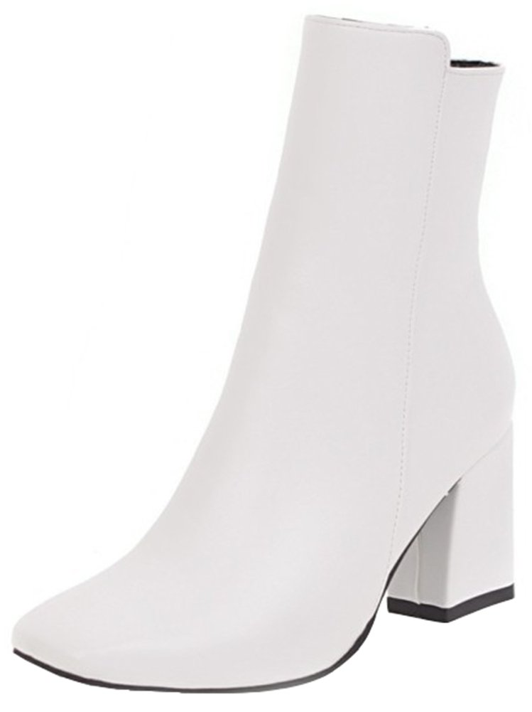 Mofri Women's Chic Burnished Square Toe Side Zipper Ankle Booties Chunky High Heel OL Work Shoes Short Boots (White, 9.5 B(M) US) by Mofri (Image #1)
