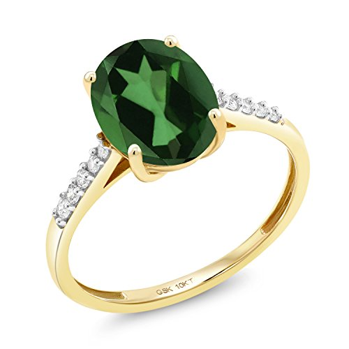 Gem Stone King 10K Yellow Gold 2.82 Ct Oval Green Mystic Quartz White Diamond Ring (Size 7)