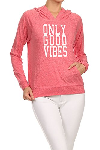 Gs-eagle Women's Only Good Vibes Graphic Hoodie Large Coral ()