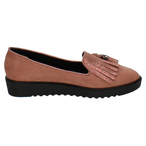 Mujer Rosa Zapatop Zapatos Mocasín Borlas Mb Flecos Rosas 6439 77wp6qFf