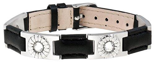 Sabona Black Leather Gem Stainless Magnetic Bracelet