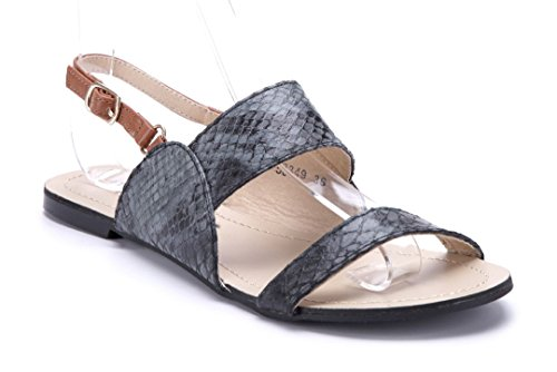 Schuhtempel24 Damen Schuhe Sandalen Sandaletten Flach 1 cm Schwarz