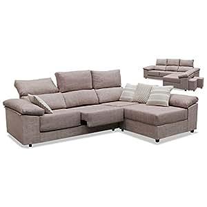 Muebles Baratos Sofá con Chaise Longue, 2 Pufs de Regalo, Tejido Antimanchas, Tela desenfundable ref-04