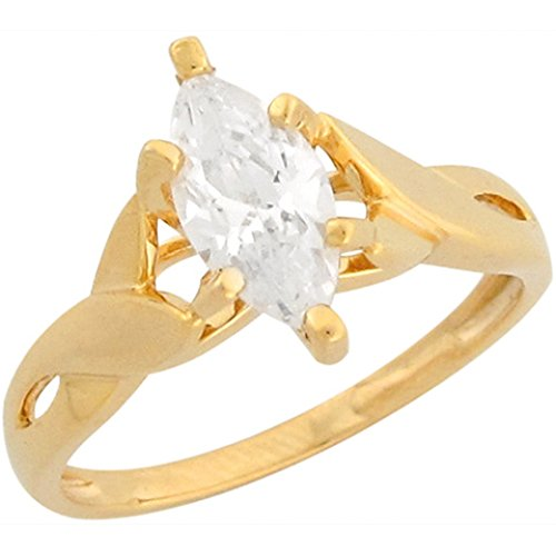 10k Yellow Gold 1.67ct CZ Marquis Princess Solitaire Engagement ()