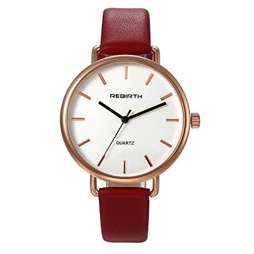 Ladies Fashion Bracelet Watch Red Slim Leather Strap Simple Japan Quartz Dress Wristwatch for - Ladies Watch Bracelet Red