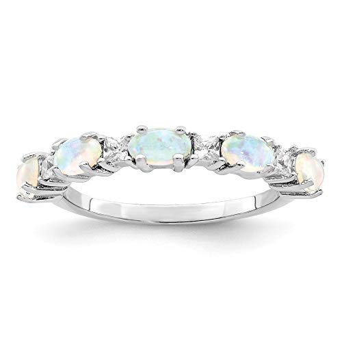 925 Sterling Silver Lab Created Opal Cubic Zirconia Cz Band Ring Size 7.00 Stone Fine Jewelry Gifts For Women For Her