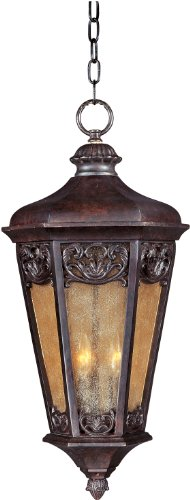 Maxim 40177NSCU Lexington VX 3-Light Outdoor Hanging Lantern, Colonial Umber Finish, Night Shade Glass, CA Incandescent Incandescent Bulb , 40W Max., Dry Safety Rating, Standard Dimmable, Fabric Shade Material, Rated Lumens Colonial Umber Finish Chandeliers