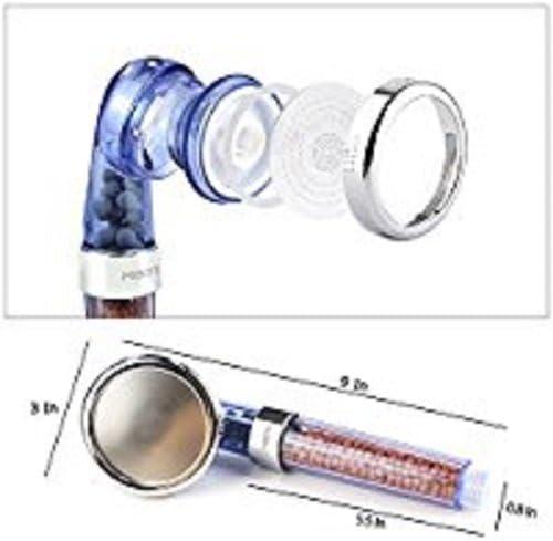 transparente ahorro de agua de alta presi/ón con 3/modos de ducha para piel seca y pelo por mibote alcachofa de ducha