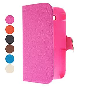 Woven Grain Pattern PU Leather Case with Card Slot for Samsung Galaxy DUOS I9082 (Assorted Colors) --- COLOR:Pink