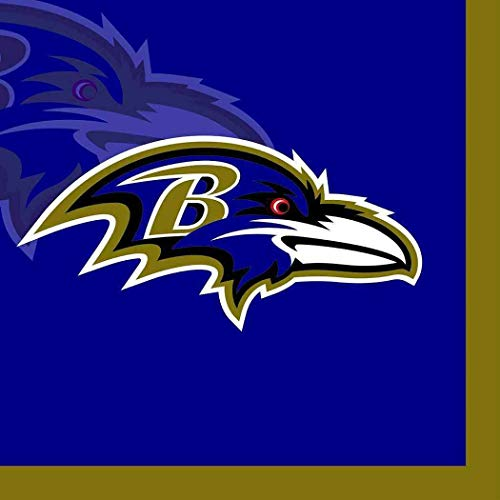 Ravens Baltimore Paper (Baltimore Ravens Paper Napkins NFL Pro Football Sports Banquet Cocktail NCAA Game Day Themed College University Party Drink Supplies Luncheon for 20 guests Blue Gold Napkins)