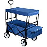 GreenWise Collapsible Canopy Folding Wagon Utility Cart Rubber Tire Garden Shopping Toy Cart, Blue